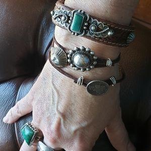 Fred Harvey royston turquoise leather bracelet